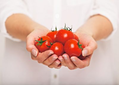 20899465 - female's both hands holding fresh tomatoes