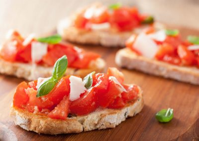 26403660 - italian bruschetta with tomatoes, parmesan, garlic and olive oil